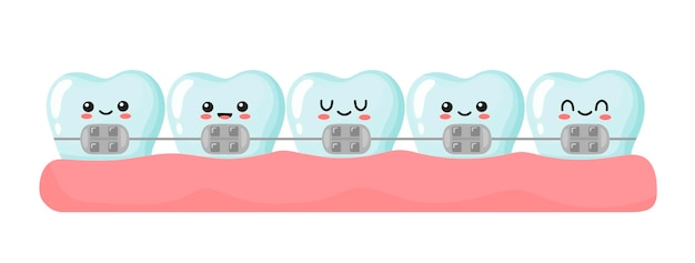 Pose d'appareils dentaires sur les dents. jolies dents kawaii. illustration en style cartoon.