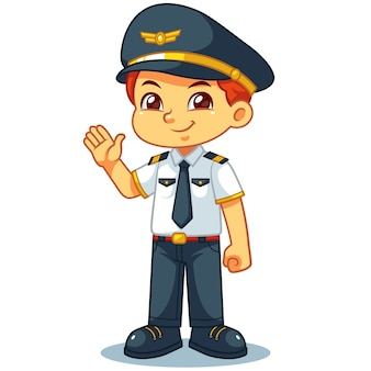Pose de bienvenue de pilote garçon amical.