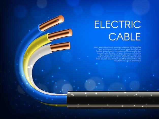 Pose de câbles électriques, fils de câble de ligne d'alimentation électrique