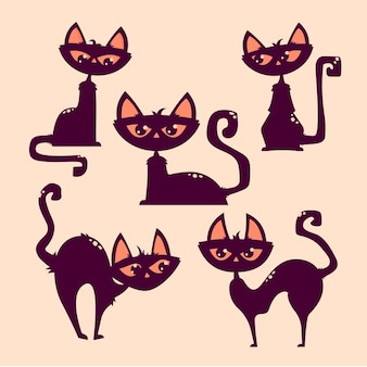 Pose de chat d'halloween