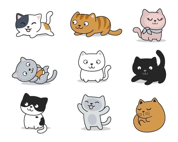 Pose de chats mignons dessinés à la main