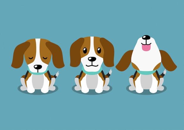 Pose de chien beagle personnage de dessin animé