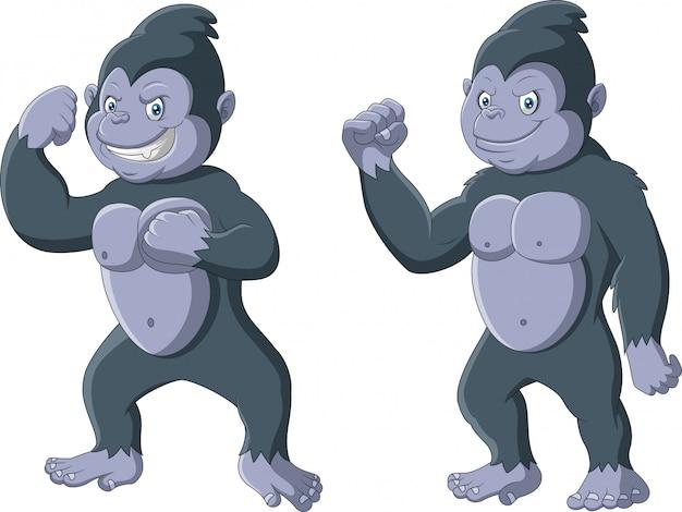 Pose debout de dessin animé drôle de gorille
