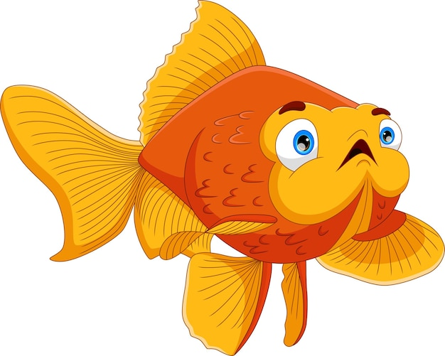 Pose de dessin animé de poisson mignon