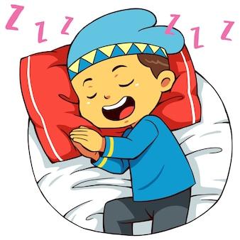 Pose endormie du personnage de garçon musulman.