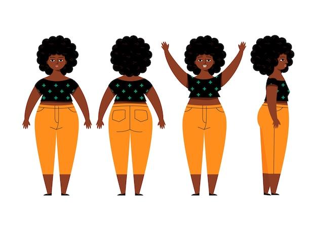 Pose de personnage féminin afro-américain