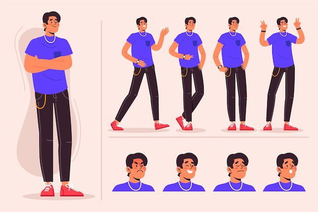 Pose de personnage masculin