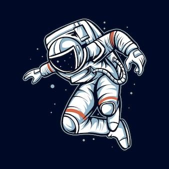 Pose de saut d'astronaute sur l'illustration de l'oeuvre spatiale