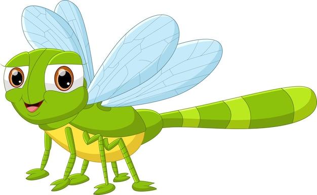 Pose et sourire de libellule de dessin animé