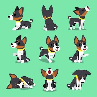 Poses de chien basenji de personnage de dessin animé