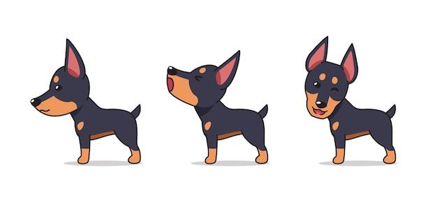 Poses de chien dobermann de personnage de dessin animé