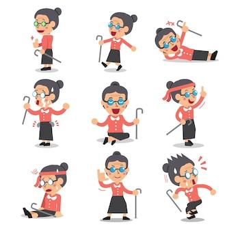 Poses de personnage de dessin animé femme senior