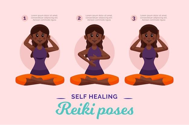Poses de reiki d'auto-guérison