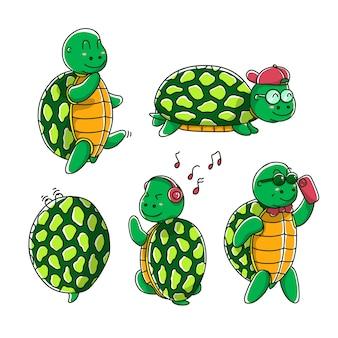Poses de tortues mignonnes
