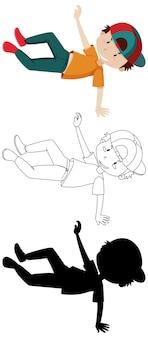 Position de danse de garçon en couleur et contour et silhouette