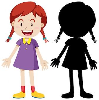 Position debout de fille heureuse avec sa silhouette