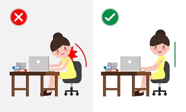 Position de levage correcte et homme incorrect. maladie des maux de dos. soins médicaux. mauvais contre contre un levage correct. illustration.
