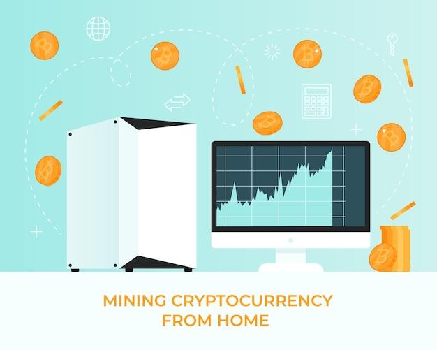 Possibilité d'extraire des bitcoins de crypto-monnaie sur votre ordinateur à la maison pièce de bit physique