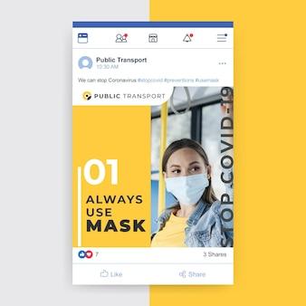Post facebook avec photo et texte sur le coronavirus