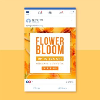Post facebook avec photo et texte printemps