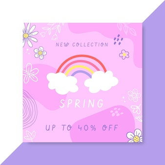 Post facebook de printemps enfantin de doodle