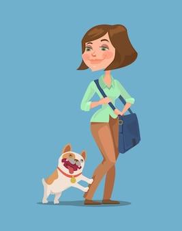 Post femme et chien heureux