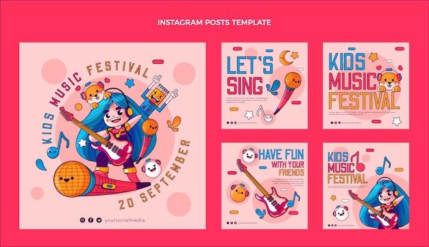 Post ig festival de musique coloré dessiné à la main