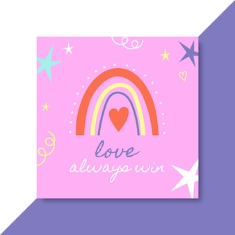 Post instagram d'amour coloré dessiné à la main