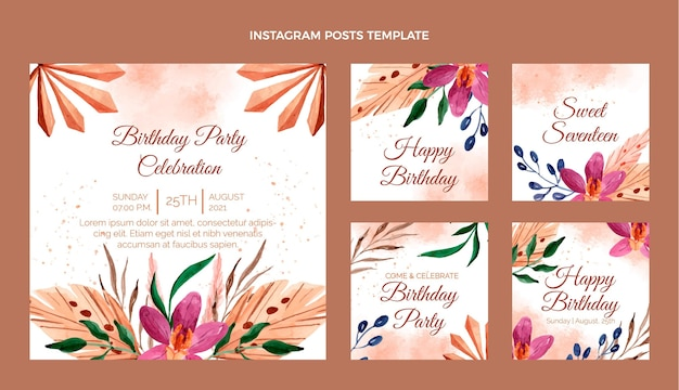 Post instagram d'anniversaire boho aquarelle