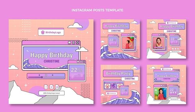 Post instagram d'anniversaire dégradé rétro vaporwave