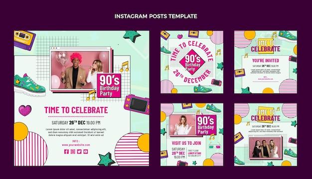 Post instagram d'anniversaire nostalgique des années 90 dessiné à la main
