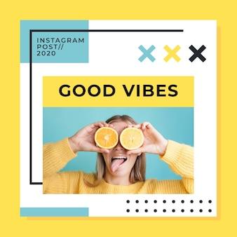 Post instagram avec de bonnes vibrations