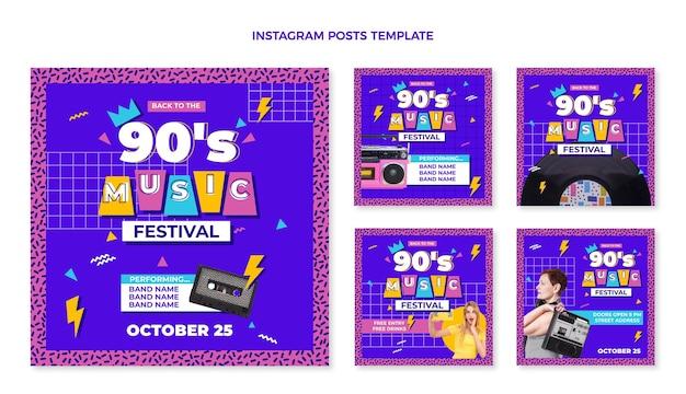 Post instagram du festival de musique nostalgique au design plat