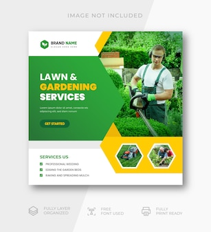 Post instagram de jardin vert et service d'entretien des pelouses