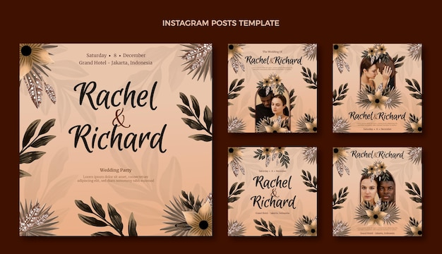 Post instagram de mariage boho aquarelle