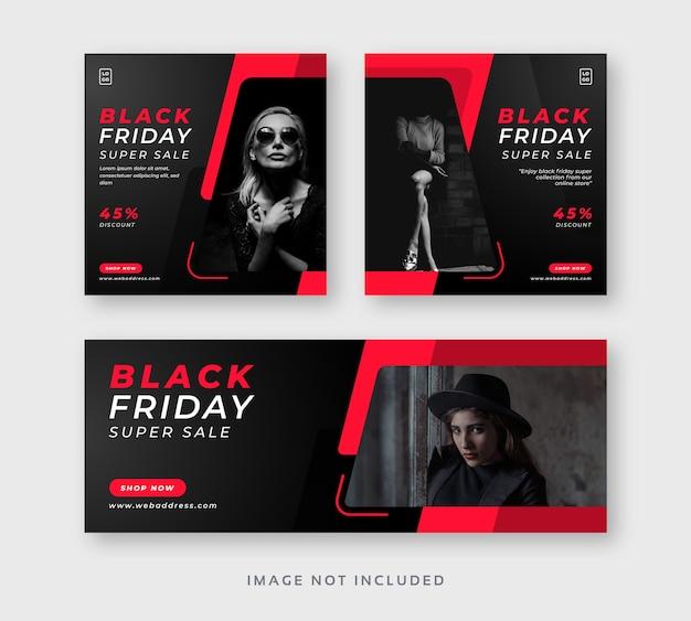 Post instagram de médias sociaux vendredi noir avec bannière web de couverture facebook