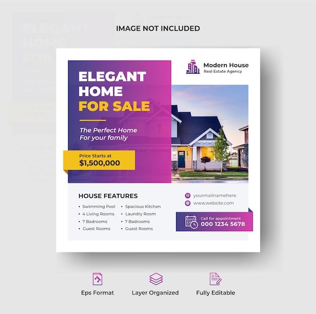 Post instagram de propriété de maison immobilière ou modèle de publicité de bannière web carrée vecteur premium