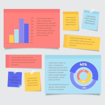 Post-it des infographies de planches au design plat