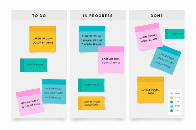 Post-it des infographies de planches au design plat