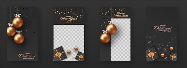 Post social de noël et du nouvel an avec des boules d'or