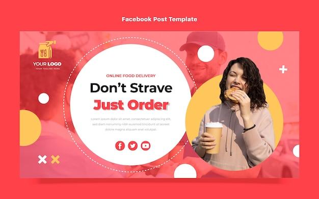 Poste facebook de commande de nourriture design plat