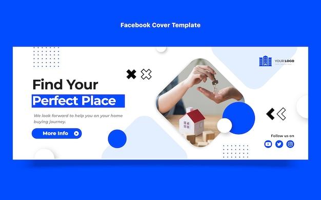 Poste facebook immobilier géométrique abstrait design plat