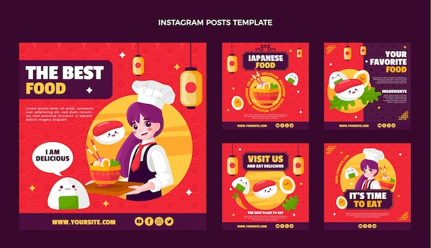 Poste instagram de cuisine japonaise au design plat