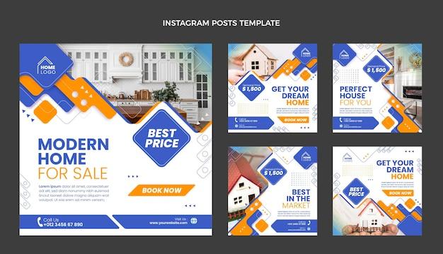 Poste instagram de l'immobilier géométrique au design plat