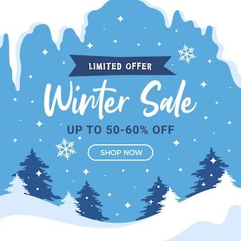 Poste instagram de médias sociaux de fond carré de vente d'hiver