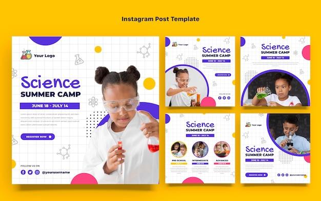 Poste instagram de science du design plat