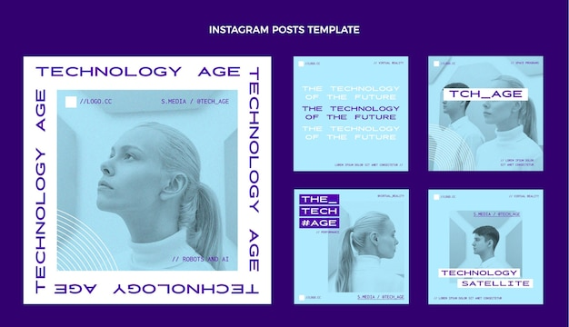 Poste Instagram à Technologie Minimale Plate Vecteur Premium