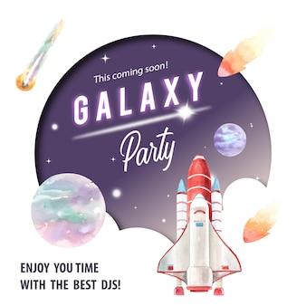 Poste de médias sociaux galaxy avec fusée, astéroïde, illustration aquarelle planète.