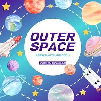 Poste de médias sociaux galaxy avec fusée, illustration aquarelle du système solaire.