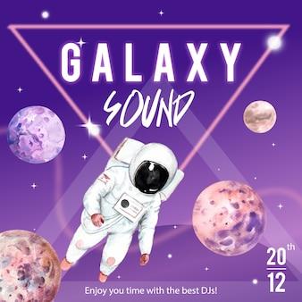 Poste de médias sociaux galaxy avec illustration aquarelle astronaute et planète.
